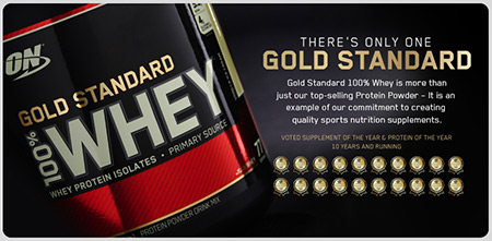 100% Whey Gold Standard von Optimum Nutrition - Banner