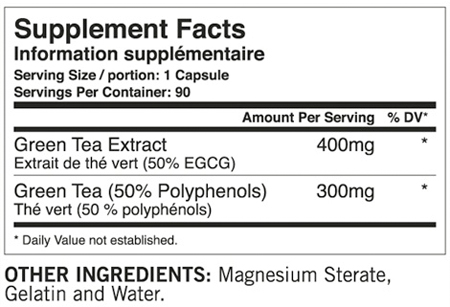 Tested EGCG von Tested Nutrition - Supplement Facts
